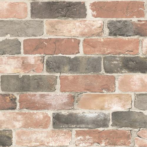 NuWallpaper by Brewster NU2064 Newport Reclaimed Brick Red Faded Peel & Stick Wallpaper