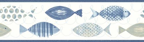 Chesapeake by Brewster 3113-12213B Seaside Living Key West Blue Fish Border