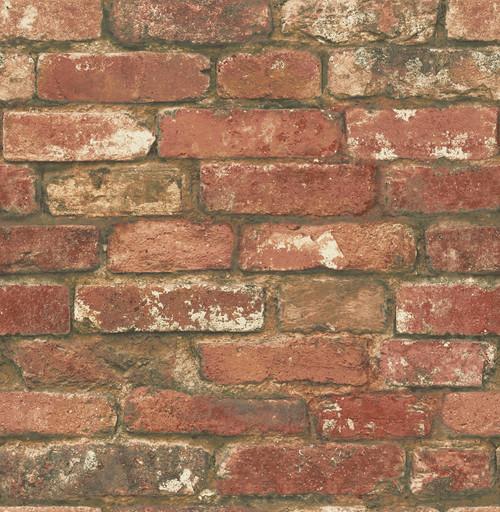 NuWallpaper by Brewster NUW2088 West End Red Brick Peel & Stick Wallpaper