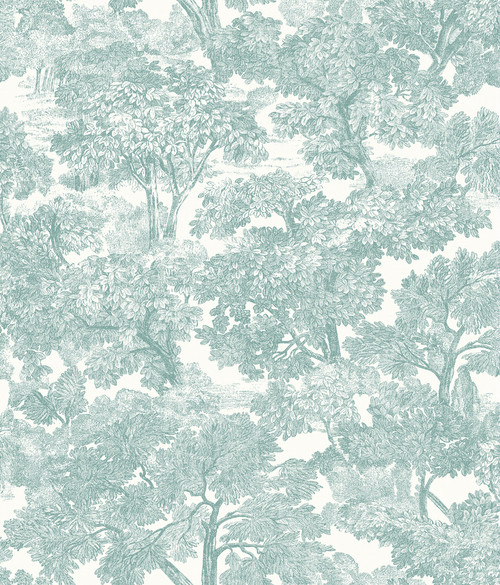 Chesapeake by Brewster 3115-12545 Spinney Teal Toile Wallpaper