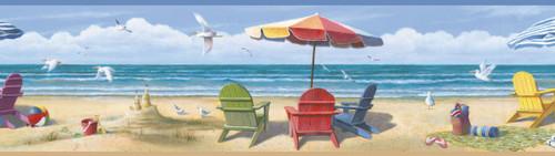 Chesapeake by Brewster BBC46091B Lori Blue Summer Beach Portrait Border
