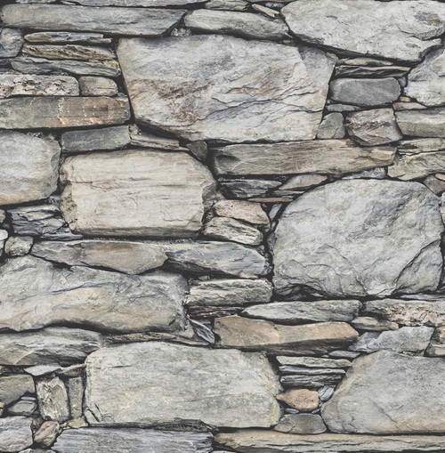 A-Street Prints by Brewster 2701-22304 Reclaimed Stone Wall Grey Historic Wallpaper
