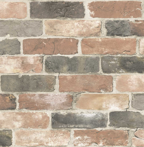 A-Street Prints by Brewster 2701-22320 Reclaimed  Bricks Dusty Red Rustic Wallpaper