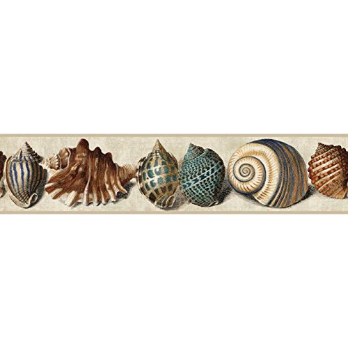 York Wallcoverings NY4896BD Nautical Living Shell Border, Tan/Robin's Egg Blue/Teal/Terra Cotta/Black/Marine Blue/Indigo
