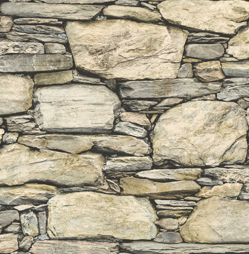 A-Street Prints by Brewster 2701-22317 Reclaimed Stone Wall Wheat Historic Wallpaper