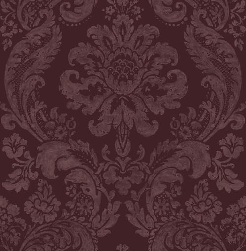 A−Street Prints by Brewster 2763-87315 Moonlight Shadow Merlot Damask Wallpaper