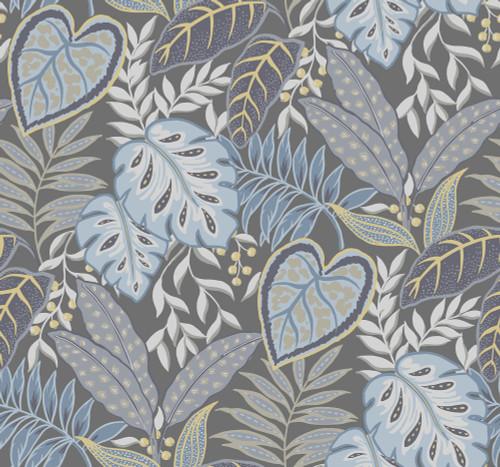 A-Street Prints by Brewster 2785-87422 Denim Jasmine Wallpaper Blue