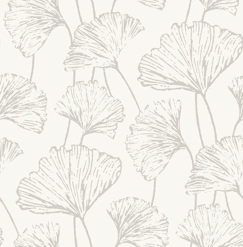 A-Street Prints by Brewster 2764-24315 Mistral Reverie Silver Ginkgo Wallpaper