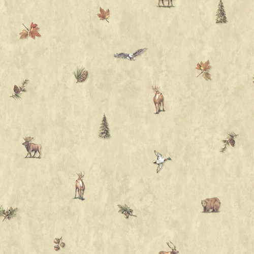 Chesapeake by Brewster TLL01451 Echo Lake Lodge Hiram Neutral Animal Toss Wallpaper