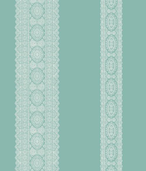 A-Street Prints by Brewster 1014-001834 Kismet Brynn Turquoise Paisley Stripe Wallpaper
