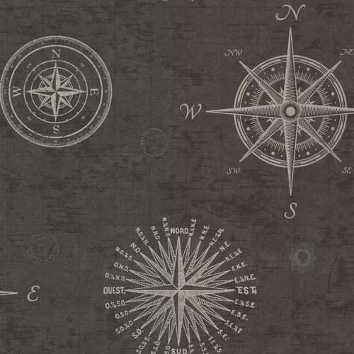 Beacon House by Brewster 2604-21215 Oxford Navigate Charcoal Vintage Compass Wallpaper
