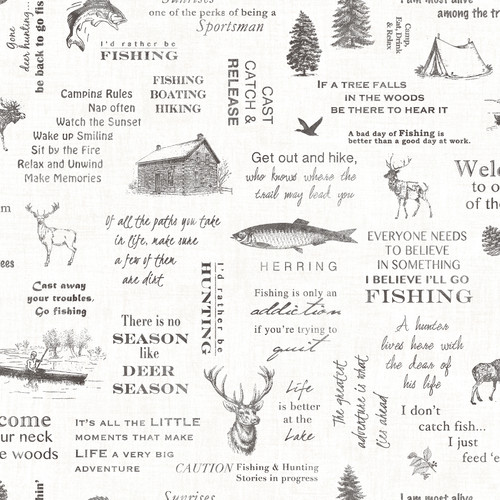 Chesapeake by Brewster 3118-01475 Birch & Sparrow North Hills Black Camping Quotes Wallpaper