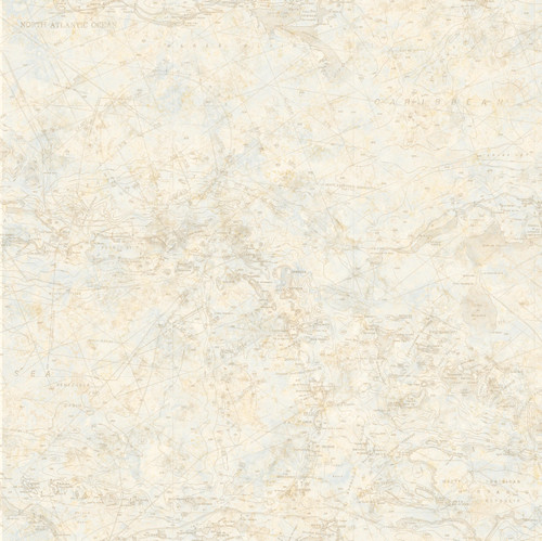 Chesapeake by Brewster BBC16174 Mapped Blue Charts Wallpaper Wallpaper
