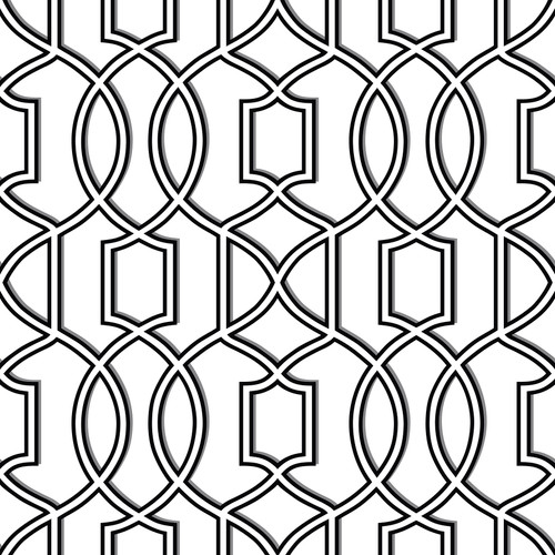 NuWallpaper by Brewster NU1696 Uptown Trellis Black/White Peel & Stick Wallpaper