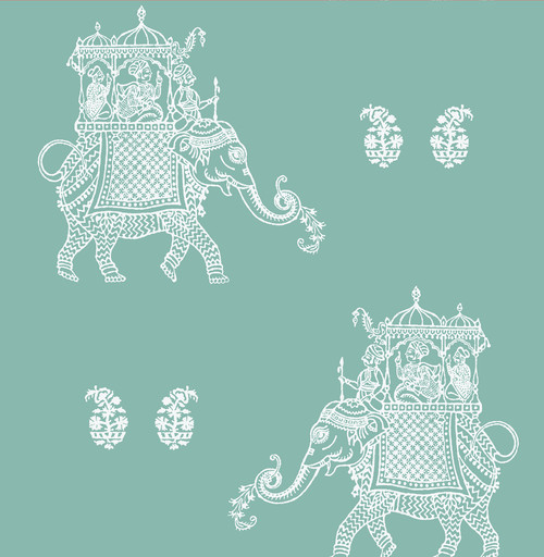 A-Street Prints by Brewster 1014-001839 Kismet Ophelia Turquoise Elephant Wallpaper