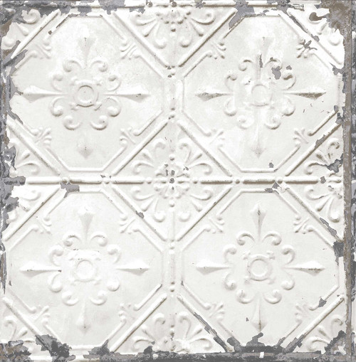 A-Street Prints by Brewster 2701-22305 Reclaimed Tin Ceiling White Distressed Tiles Wallpaper