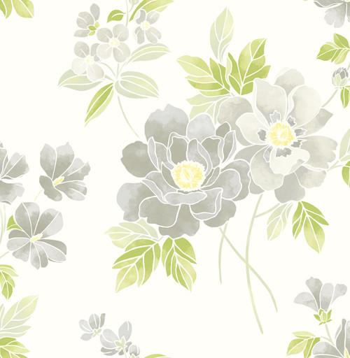 A-Street Prints by Brewster 2656-004021 Claressa Grey Floral Wallpaper