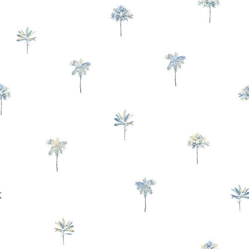 Chesapeake by Brewster 3113-12063 Seaside Living Palmetto Blue Leaves Wallpaper