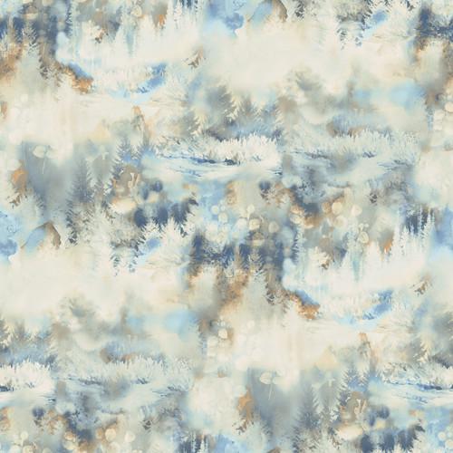 Chesapeake by Brewster 3118-12611 Birch & Sparrow Tamarack Blue Forest Wallpaper