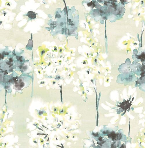A-Street Prints by Brewster 2656-004018 Marilla Aquamarine Watercolor Floral Wallpaper