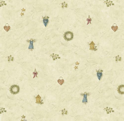 Chesapeake by Brewster BBC21711 Mazy Blue Hearts Dolls Toss Wallpaper Wallpaper