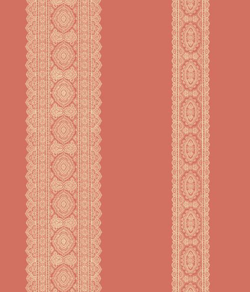 A-Street Prints by Brewster 1014-001833 Kismet Brynn Coral Paisley Stripe Wallpaper