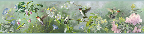 Chesapeake by Brewster 3118-48531B Birch & Sparrow Ruby Multicolor Garden Border
