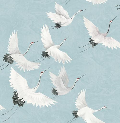 A-Street Prints by Brewster 2764-24300 Mistral Windsong Blue Crane Wallpaper