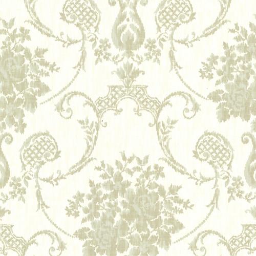 Beacon House by Brewster 2614-21026 Marais Green Ikat Damask Wallpaper