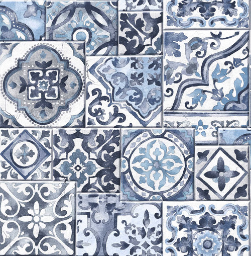 A-Street Prints by Brewster 2701-22316 Reclaimed Marrakesh Tiles Blue Mosaic Wallpaper