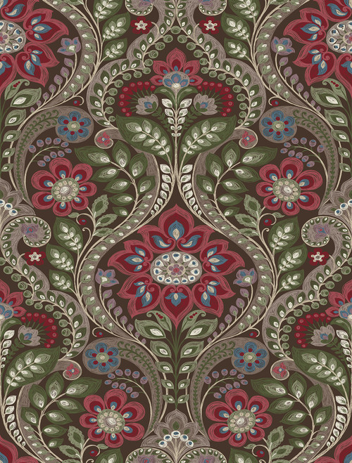 A−Street Prints by Brewster 2763-12105 Moonlight Night Bloom Chocolate Damask Wallpaper