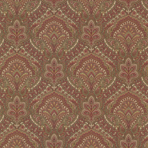Beacon House by Brewster 2604-21218 Oxford Cypress Burgundy Paisley Damask Wallpaper