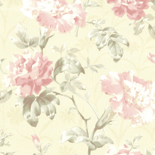 Beacon House by Brewster 2614-21001 Juliana Champagne Vintage Floral Wallpaper
