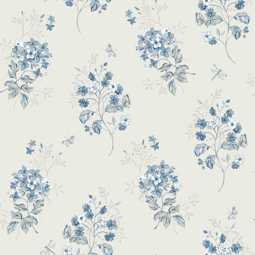 Chesapeake by Brewster 3112-002704 Sage Hill Beverly Blue Floral Wallpaper