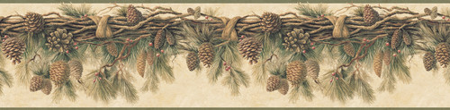 Chesapeake by Brewster 3118-01391B Birch & Sparrow Pinecone Forest Multicolor Pine Border