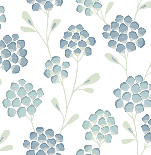 A-Street Prints by Brewster 2785-24800 Aqua Scandi Flora Wallpaper Blue