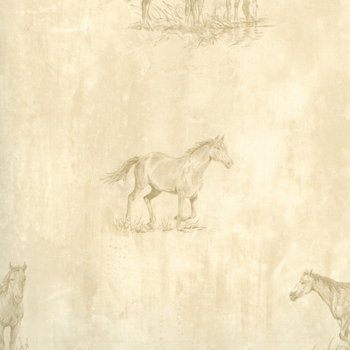 Chesapeake by Brewster HTM49483 Outdoors Doodles Neutral Horse Sketch Toss Wallpaper