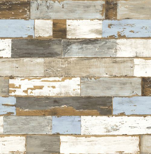 NextWall NW30700 Colorful Shiplap Peel and Stick Wallpaper  White Gray Blue