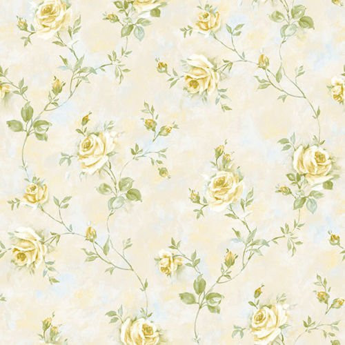 Cavalier Wall Liner RG35736 Painted Rose Trail Wallpaper Cream, Yellow, Green
