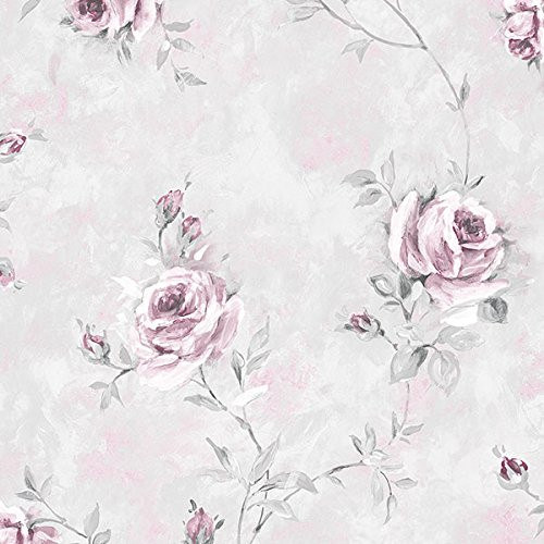 Cavalier Wall Liner RG35738 Rose Garden 2 Painted Rose Trail Wallpaper Pink, Grey