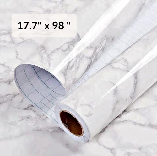 """GRACE & GARDENIA White Marble  Contact Paper Self Adhesive Removable 17.7"""" x 98"""""""