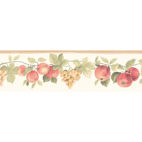 Norwall Wallcoverings  KC78350DC Fresh Kitchens 5 Hybrid Fruit Wallpaper Border Beige, Green, Red