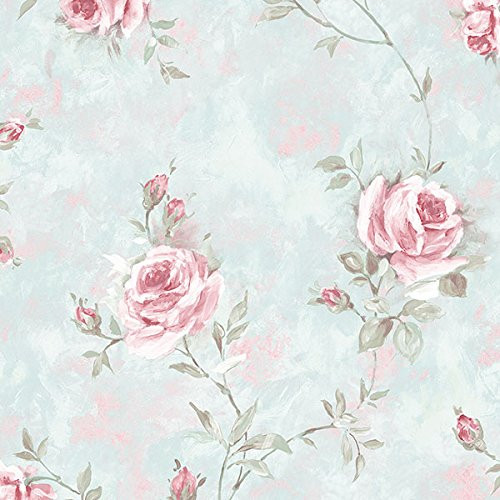 Cavalier Wall Liner RG35734 Painted Rose Trail Wallpaper Turquoise, Pink, Green