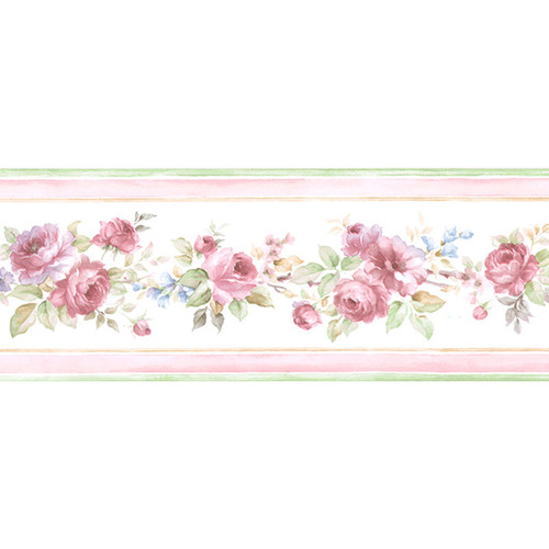 Norwall PF79505 Floral Wallpaper Border, Red, Pink