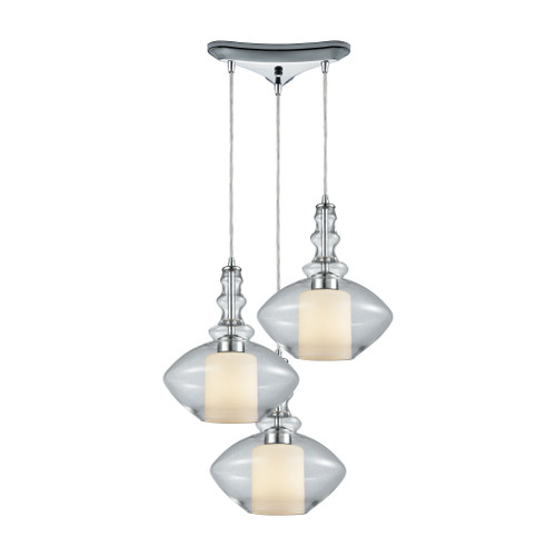 Alora 3 Light Triangle Pan Pendant In Polished Chrome by Elk 56500/3