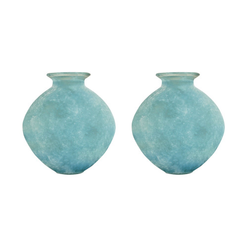 "ELK 310416/S2 Pomeroy Celesta Set of 2 Vases 10"" Textured Azure"