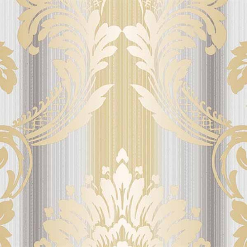 Norwall Wallcoverings Classic Silks 2 CS35605 String Damask Wallpaper Grey, Metallic Gold
