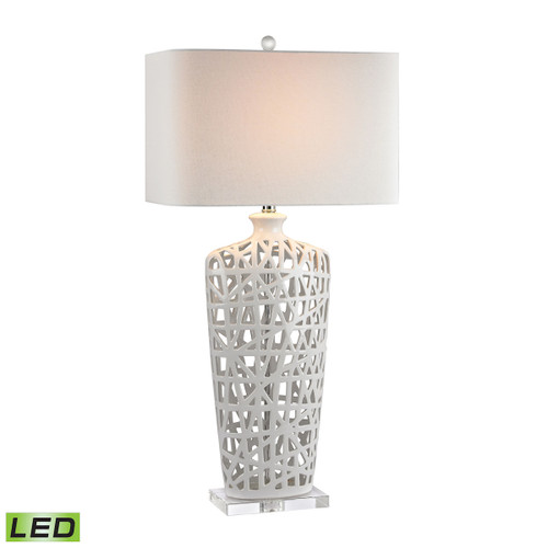 Ceramic LED Table Lamp Dimond Lighting D2637-LED in Gloss White And Crystal