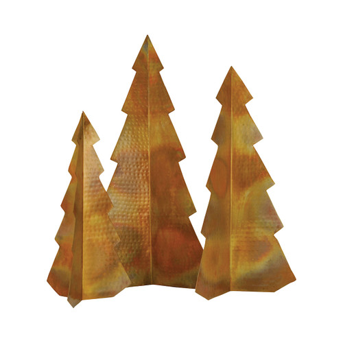 Elk 519093 Pomeroy Rustique S3 Christmas Trees Hammered Burned Copper