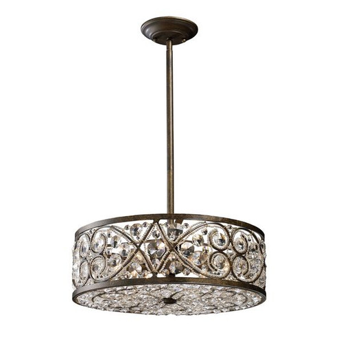 Amherst 6 Light Pendant In Antique Bronze and Clear Crystal by ELK 11287/6